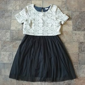 Anthropologie Weston lace tulle dress
